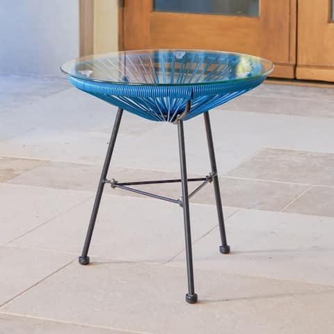 Sarcelles Modern Woven Wicker Patio Side Table with Glass Top by Corvus
