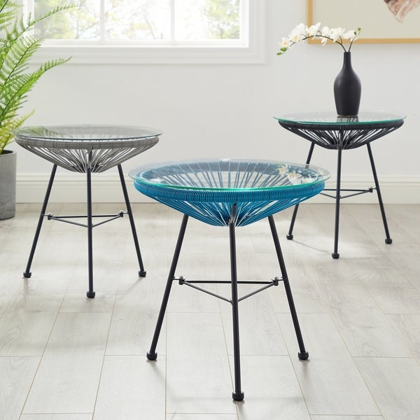 Sarcelles Modern Woven Wicker Patio Side Table with Glass Top by Corvus. Opens flyout.