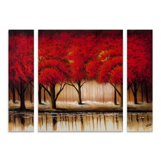 Rio 'Parade of Red Trees II' Small Multi-panel Art Set
