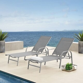 Corvus Antonio Brown Sling Fabric Adjustable Outdoor Chaise Lounge