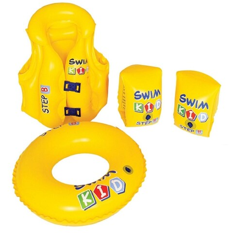 4-Piece Inflatable Yellow Swim Kid Children's Swimming Pool Float Learning Set
