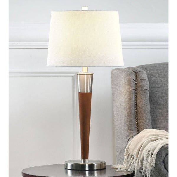 HomeTREND Manhattan Brushed Nickel/Walnut Wood Table Lamps (Set of 2)