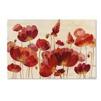 Silvia Vassileva 'Red Flowers on Cream Crop' Canvas Art
