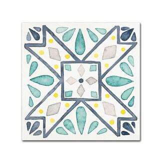 Laura Marshall 'Garden Getaway Tile IX White' Canvas Art