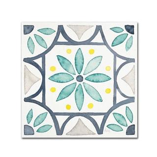 Laura Marshall 'Garden Getaway Tile VIII White' Canvas Art