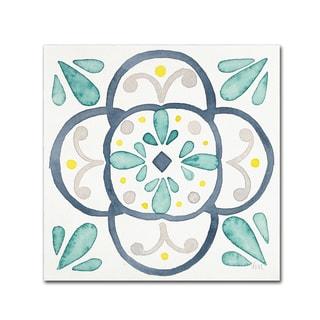 Laura Marshall 'Garden Getaway Tile VII White' Canvas Art