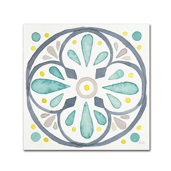 Laura Marshall 'Garden Getaway Tile VI White' Canvas Art