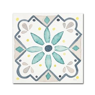 Laura Marshall 'Garden Getaway Tile V White' Canvas Art