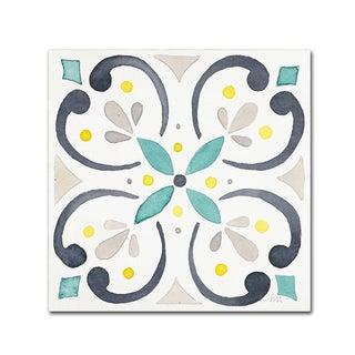 Laura Marshall 'Garden Getaway Tile IV White' Canvas Art