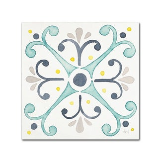 Laura Marshall 'Garden Getaway Tile III White' Canvas Art