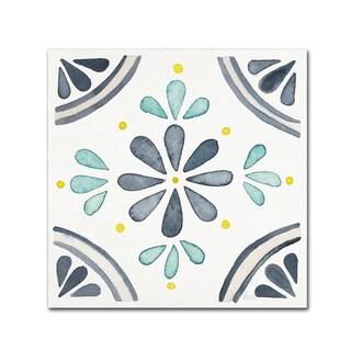 Laura Marshall 'Garden Getaway Tile I White' Canvas Art