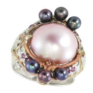Michael Valitutti Palladium Silver Multi Pearls & Gemstones Floral Ring