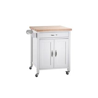SJ Collection Alberta White Wood Kitchen cart