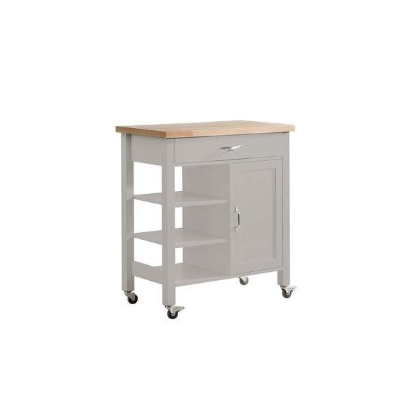 SJ Collection Greenwich Grey Wooden Kitchen Cart