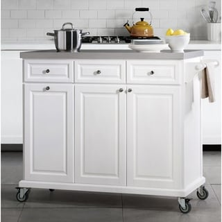 SJ Collection Bedford White Kitchen Cart