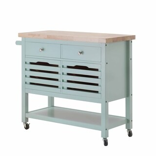 SJ Collection New Jaden Blue Wood Kitchen Cart