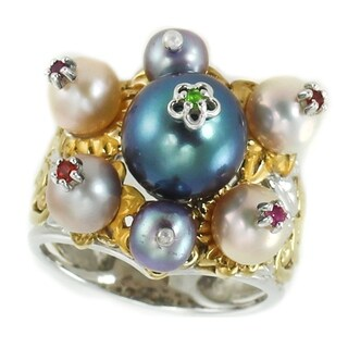Michael Valitutti Palladium Silver Multi Freshwater Pearls & Gemstones Floral Ring
