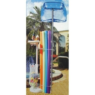 """57"""" White Summer Pool Toys and Accessories Outdoor Storage Holder with Tray"""
