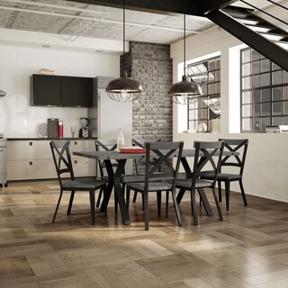 Carbon Loft Prescoft Black Metal Chairs and Table Dining Set