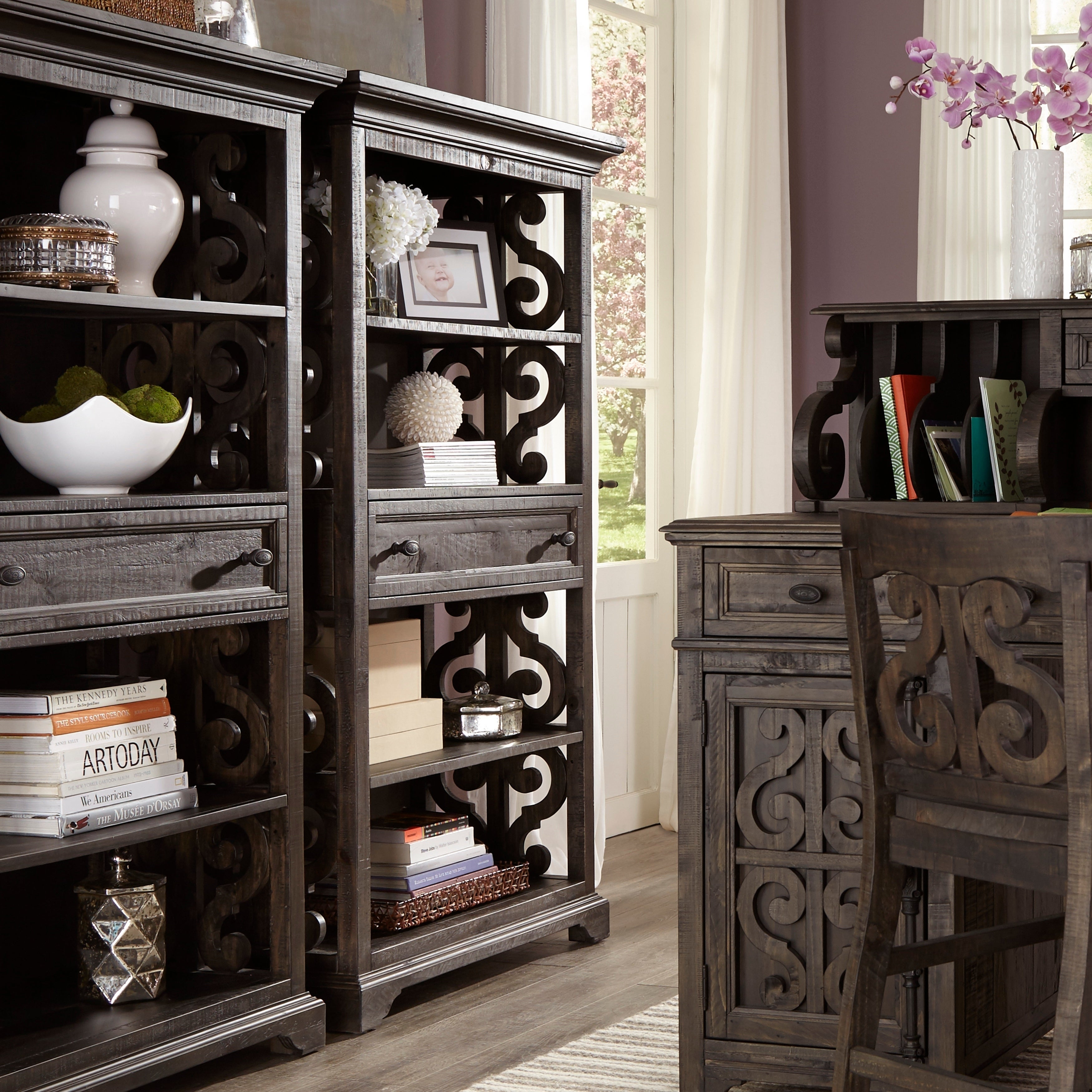 Bellamy Traditional Weathered Peppercorn Bookcase