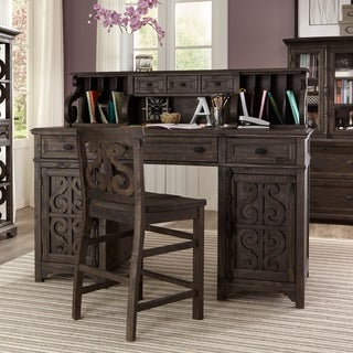 Bellamy Counter Height Desk with Hutch in Weathered Peppercorn