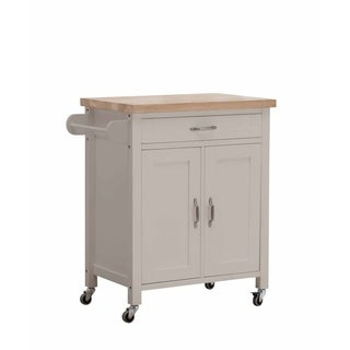 SJ Collection Alberta Grey Wood Kitchen Cart