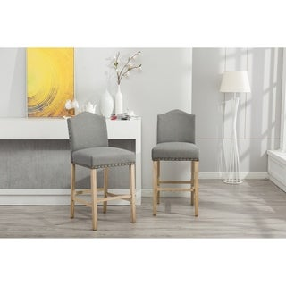 Mod Urban Style Solid Wood Nailhead Fabric Padded Barstools, Set of 2, Charcoal