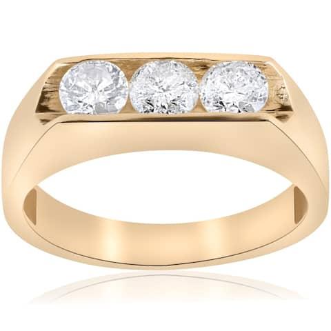 Pompeii3 Men's 10k Yellow Gold 1 1/2ct TDW Three Stone Diamond Ring - White