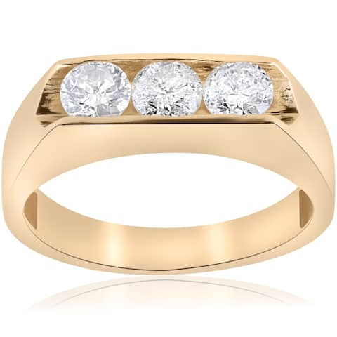 Pompeii3 10K Yellow Gold 1 1/2 ct TDW Three Stone Men's Diamond Ring - White