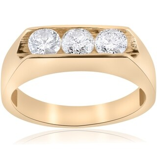 Bliss 10K Yellow Gold 1 1/2 ct TDW Three Stone Men's Diamond Ring - White