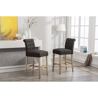 Siena Bar Height Button Tufted Back Solid Wood Stools, Set of 2, Charcoal