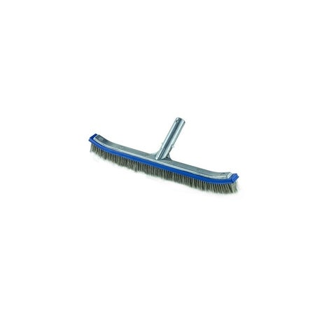 """18"""" Deluxe Stainless Steel Concrete Pool Floor and Wall Algae Brush Head - Blue"""