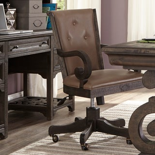 Bellamy Traditional Weathered Peppercorn Upholstered Desk Chair