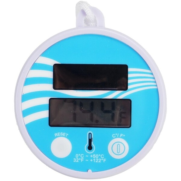 """5.5"""" Solar Powered Floating Digital Swimming Pool/Spa Thermometer with Cord - Purple"""