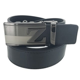 Faddism Mens Rectangular Buckle Initial Z Leather Belt Model:A48BK