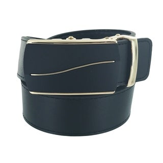 Faddism Mens Rectangular Buckle Leather Belt Model:A59BKGD