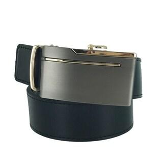 Faddism Mens Rectangular Buckle Leather Belt Model:A66BK