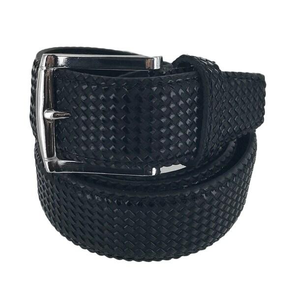Faddism Mens Rectangular Buckle Cross Woven Leather Belt Model:G203BK