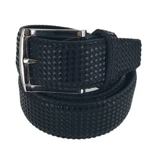 Faddism Mens Rectangular Buckle Cross Woven Leather Belt Model:G203BK|https://ak1.ostkcdn.com/images/products/17960306/P24137029.jpg?impolicy=medium