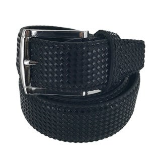 Faddism Mens Rectangular Buckle Cross Woven Leather Belt Model:G203BK