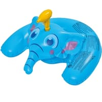 """35"""" Blue Inflatable Ride-On Elephant with Squirter Swimming Pool Toy"""