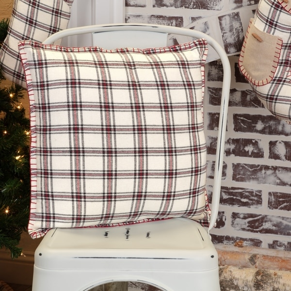 White Farmhouse Holiday Decor VHC Amory 16x16 Pillow Cotton Plaid (Pillow Cover, Pillow Insert)