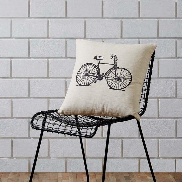 Tan Farmhouse Decor VHC Along for the Ride 18x18 Pillow Cotton Graphic-Print Stenciled Textured