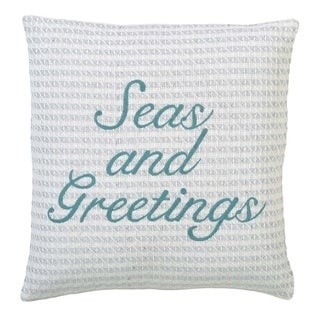 White Coastal Christmas Holiday Decor VHC Arielle Seas and Greetings Pillow Cover Cotton Graphic-Print Embroidered