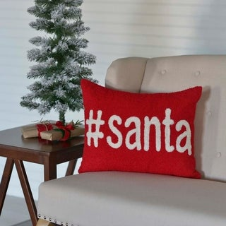 Red Farmhouse Holiday Decor VHC Santa 14x18 Pillow Wool Text Appliqued Textured (Pillow Cover, Pillow Insert)