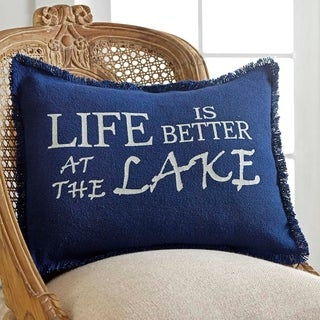 "Burlap Blue Life Is Better At The Lake 14"" x 18"" Pillow"