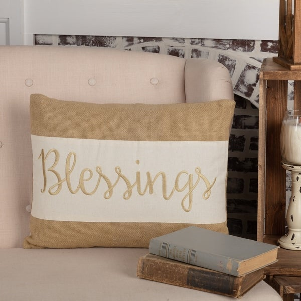 Tan Thanksgiving Holiday Decor VHC Blessings 14x18 Pillow Cotton Text Embroidered Cotton Burlap