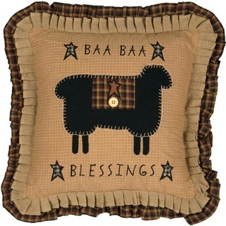 Yellow Primitive Bedding VHC Heritage Farms Baa Baa Blessings 18x18 Pillow Cotton Nature Print Appliqued Buttons