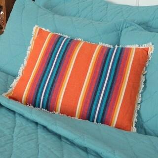 Orange Bohemian Decor VHC Clarissa Striped 14x18 Pillow Cotton Textured
