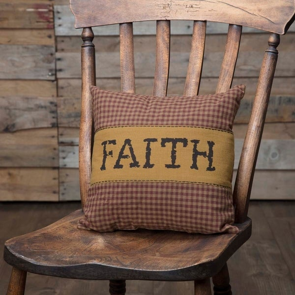 Red Primitive Bedding VHC Heritage Farms Faith 12x12 Pillow Cotton Plaid Appliqued Chambray